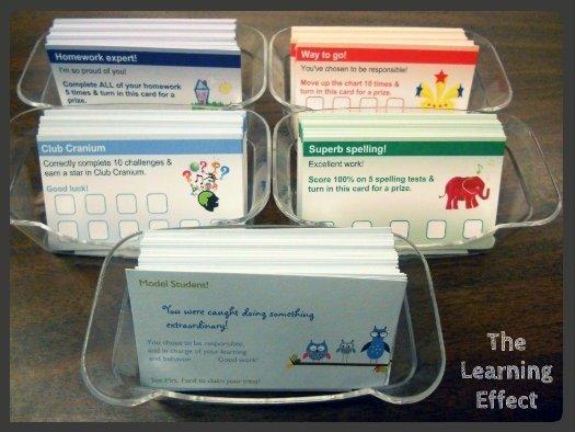 five VistaPrint student rewards punch cards