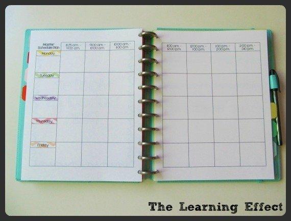 master schedule plan spread in discbound notebook
