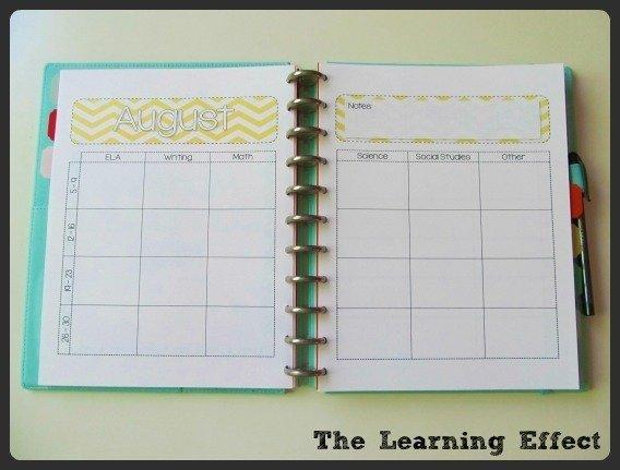 curriculum map spread in discbound notebook
