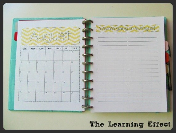 monthly calendar and list in discbound notebook