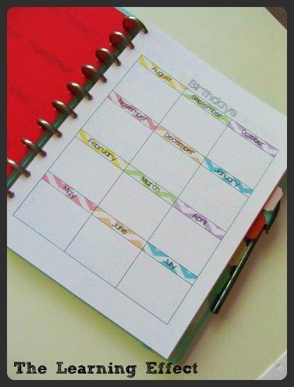 birthdays page in discbound notebook