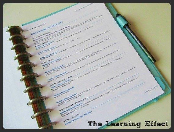 printed curriculum in discbound notebook