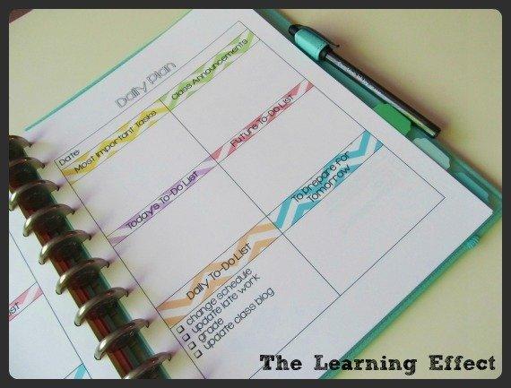 daily plan list in discbound notebook
