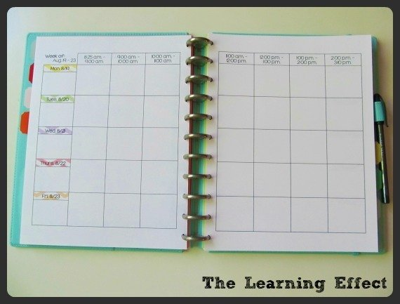 weekly lesson plans spread in discbound notebook