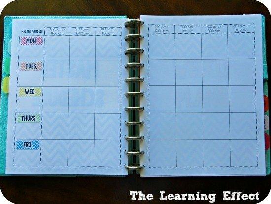 chevron teacher planner master schedule spread