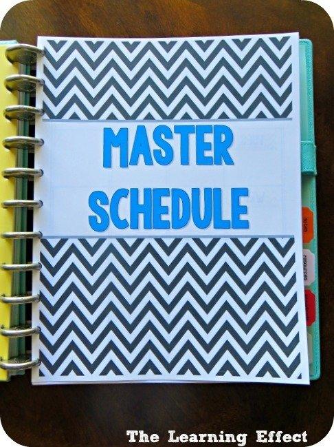 chevron teacher planner master schedule cover