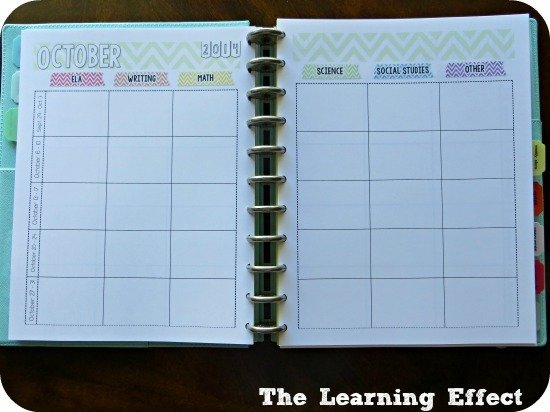 chevron teacher planner curriculum map spread