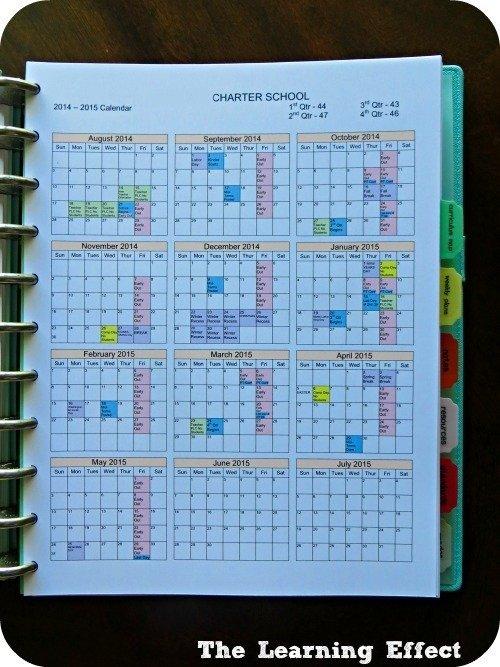 teacher planner school calendar