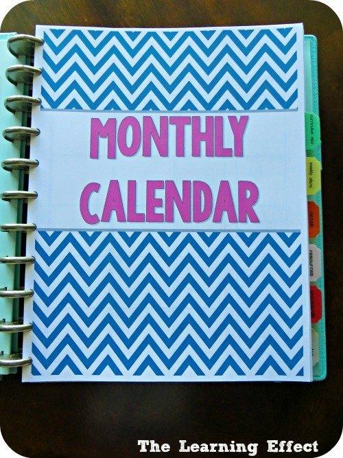 chevron teacher planner monthly calendar cover