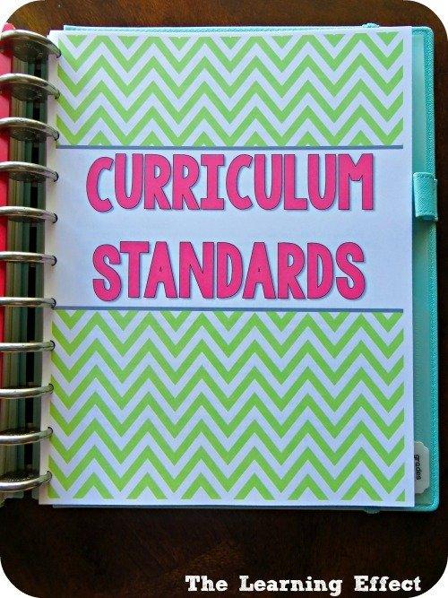 chevron teacher planner curriculum standards cover