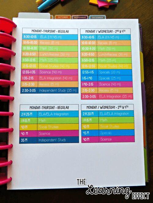 teacher planner master schedule