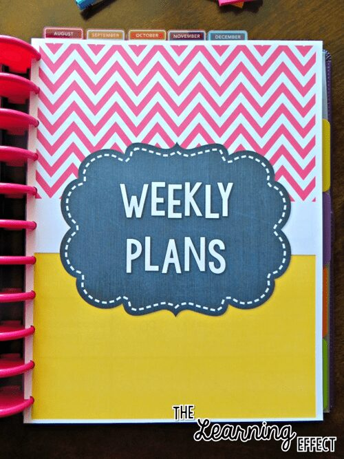 teacher planner weekly plans cover