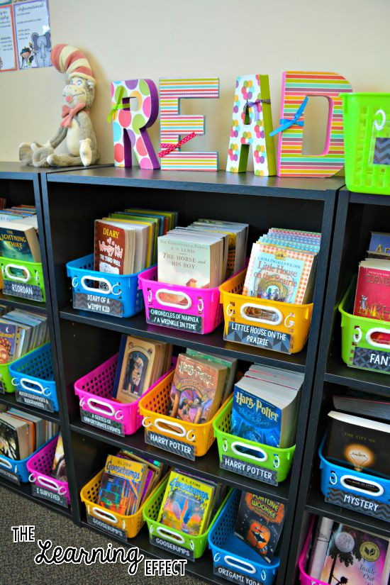 bright classroom library with rainbow chalkboard theme