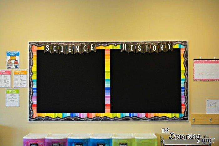 bright classroom bulletin boards with rainbow chalkboard theme
