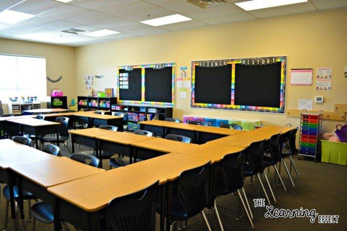 bright classroom with rainbow chalkboard theme