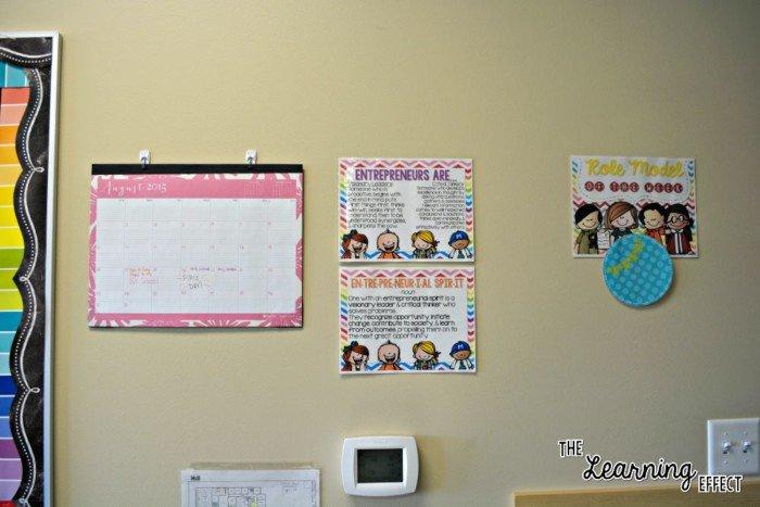 wall calendar, class mission statement