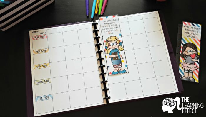 teacher planner daily lesson plans spread