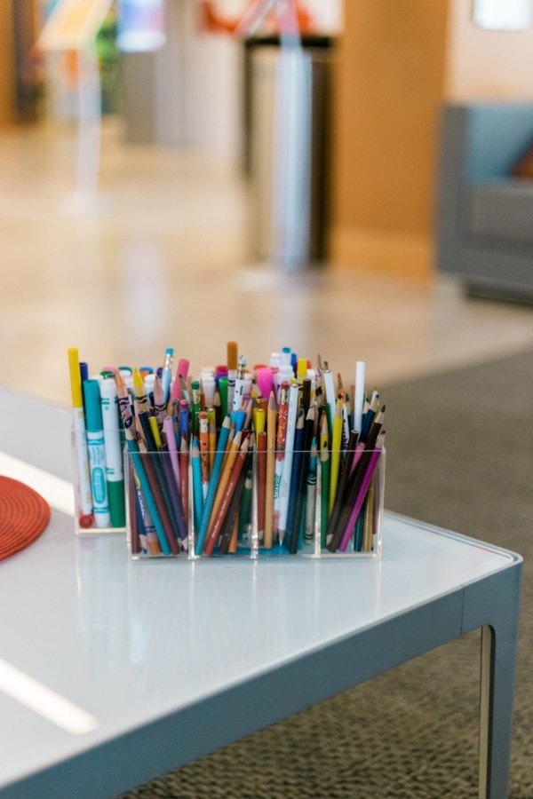 writing supplies on table