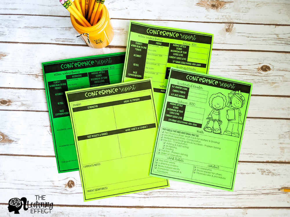 student led conference report forms