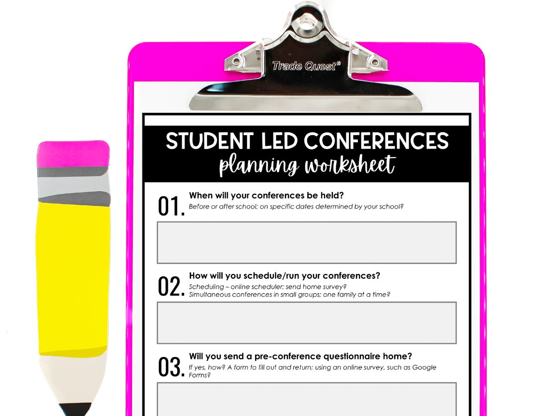 Student Led Conferences Planning Worksheet